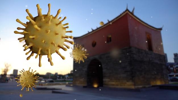 Coronavírus da gripe flutuando sobre um portão norte histórico de taipei