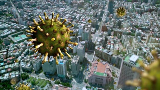 Coronavírus da gripe flutuando sobre uma cidade moderna de taipei