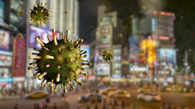 Coronavírus da gripe flutuando sobre uma cidade moderna de ximen em taipei à noite