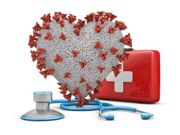 Coronavírus em forma de coração ao lado de um estetoscópio e uma mala vermelha