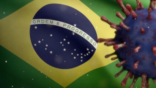 Coronavírus flutuando sobre bandeira brasileira