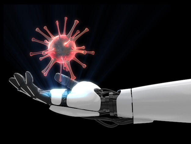Coronavírus na mão de um robô em fundo escuro