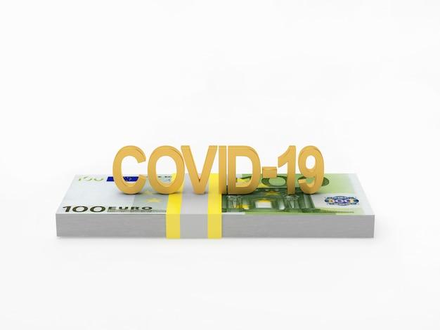 Coronovírus do ícone da covid-19 em um maço de notas de euro