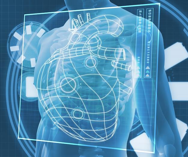 Corpo digital azul com diagrama de coração