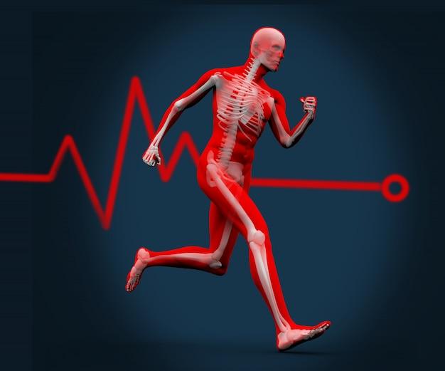 Corpo digital correndo contra uma linha de freqüência cardíaca