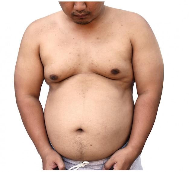 Corpo gordo do homem asiático no fundo branco