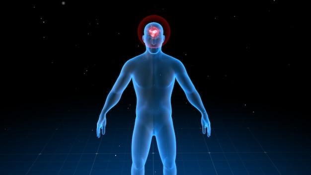 Corpo humano digital com dor visível em lugares diferentes