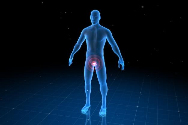 Corpo humano digital com dor visível