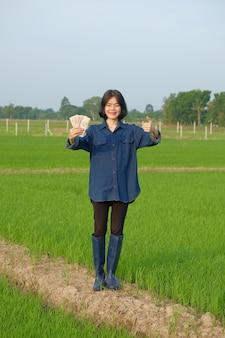 Corpo inteiro de uma agricultora asiática em pé e segurando um smartphone em uma fazenda de arroz verde