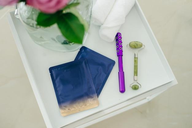 Corpo, produtos para a pele. máscara, óleo, esfoliante, limpador, tratamento anti-envelhecimento.