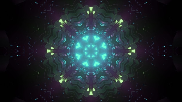Corredor caleidoscópico simétrico com iluminação neon brilhante de padrão futurista como ilustração 3d