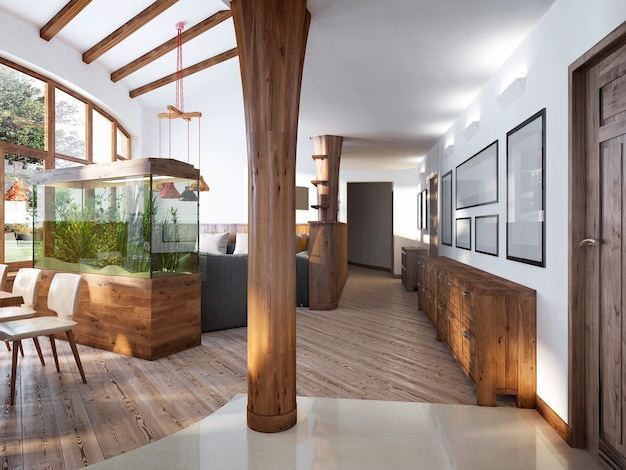 Corredor com vista da sala de estar com coluna de madeira em estilo loft