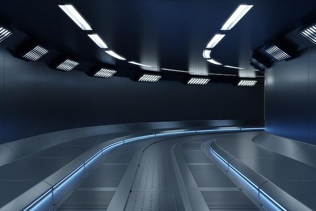 Corredor da nave espacial de ficção científica