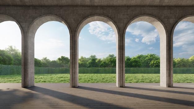 Corredor de arco contemporâneo com vista para o jardim verde. renderização em 3d