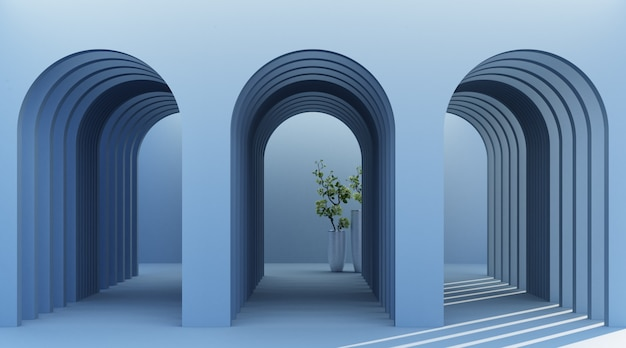 Corredor de arco minimalista com planta
