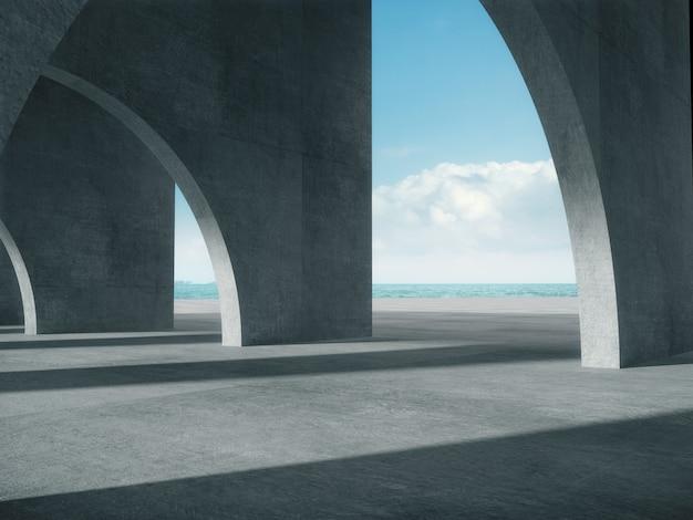 Corredor de concreto com o espaço do mar.