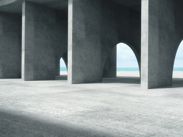 Corredor de concreto longo com o espaço do mar.