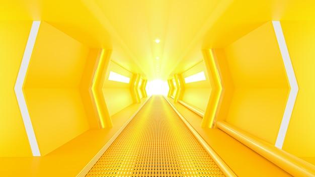 Corredor de ficção científica de nave espacial amarela. conceito de ideia mínima, renderização em 3d.
