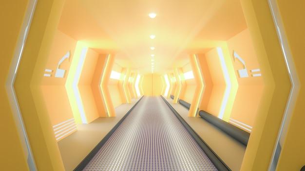 Corredor de ficção científica de nave espacial amarela, renderização em 3d.