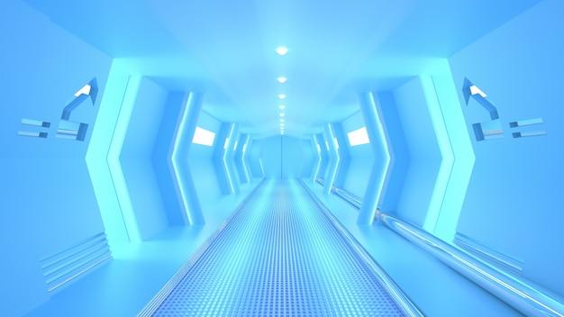 Corredor de ficção científica de nave espacial azul, renderização em 3d