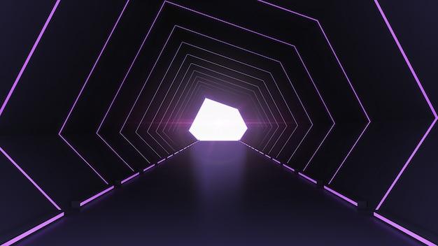 Corredor de ficção científica futurista e interior do túnel do corredor com fundo de luzes de néon