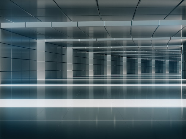 Corredor de luz longa de renderização 3d