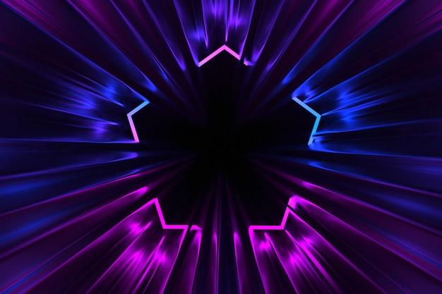 Corredor de roda abstrato iluminado pela ilustração 3d de luzes de néon