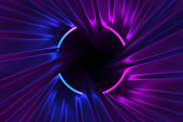 Corredor de roda abstrato iluminado pela ilustração das luzes de néon 3d