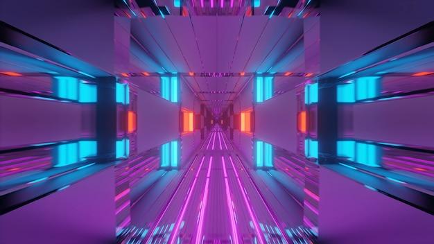 Corredor de túnel futurista com luzes brilhantes de néon e papel de parede de fundo com renderização 3d