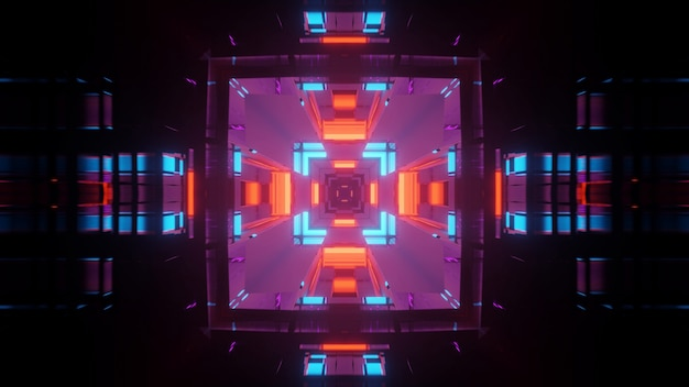 Corredor de túnel futurista com luzes brilhantes de néon, papel de parede de fundo com renderização 3d
