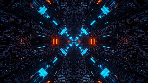 Corredor de túnel futurista de ficção científica com linhas e luzes neon azuis e vermelhas
