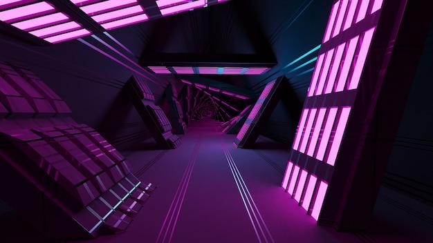 Corredor do túnel do espaço da fantasia scifi e fundo abstrato do papel de parede da ilustração 3d.