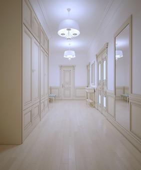 Corredor em estilo provençal com parquet de madeira clara e guarda-roupa grande com paredes brancas com moldura de cor creme.