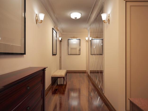 Corredor estilo provençal de corredor estreito com paredes bege e parquete de verniz de madeira marrom com banco macio e parede de espelho decorada com padrão.