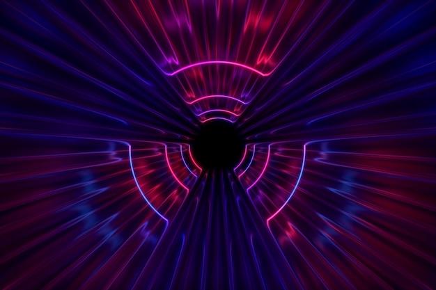 Corredor fantástico sob ilustração 3d luzes de néon