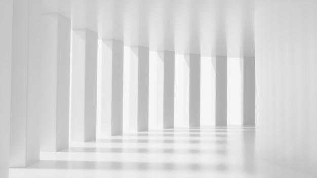 Corredor futurista branco simulado para cena abstrata scifi design de interiores renderização em 3d