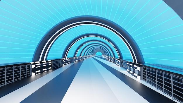 Corredor interior renderização em 3d do futuro conceito de design de interiores conceito abstrato