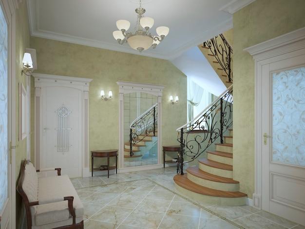 Corredor luminoso de casa luxuosa em estilo neoclássico com ampla reunião com arandelas no perímetro e paredes de gesso texturizado de cor oliva clara com piso de cerâmica de mármore claro.