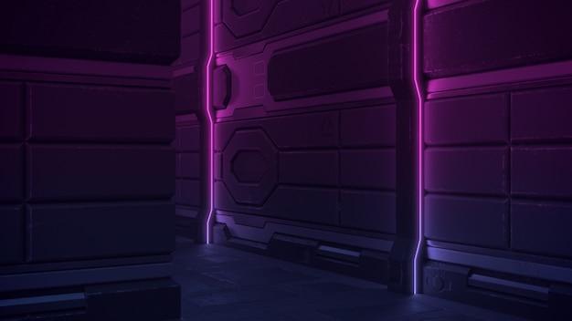 Corredor metálico escuro do fundo do corredor do grunge da ficção científica iluminado por linhas de néon verticais no roxo.