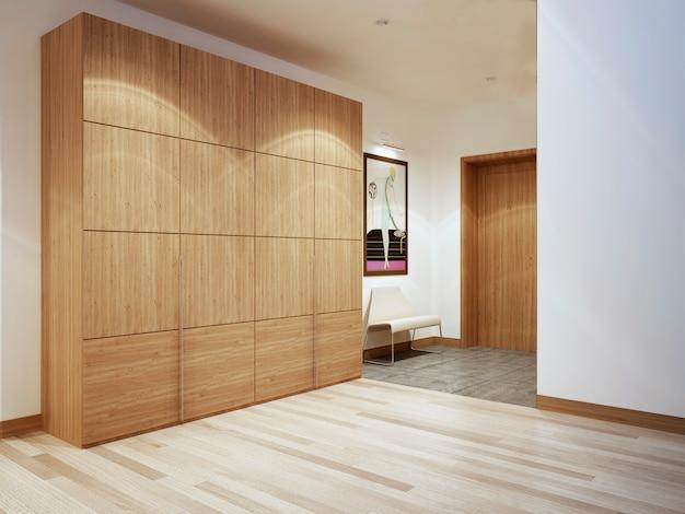 Corredor moderno e luminoso com um grande armário de madeira e piso misto.
