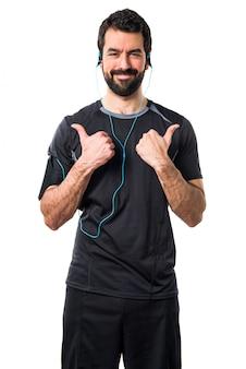 Corredor música dedo esporte esbelto