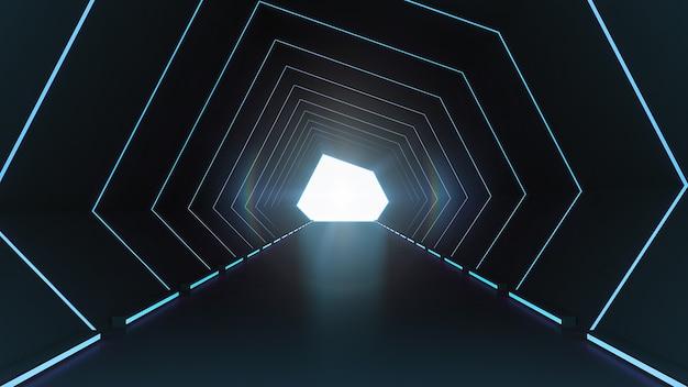 Corredor scifi de arquitetura futurista e interior do túnel do corredor com fundo de luzes de néon