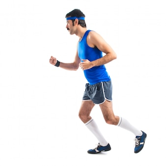 Corredor vintage correndo rápido
