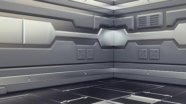 Corredores da nave espacial da ficção científica que rendem a ficção científica o interior, rendição 3d
