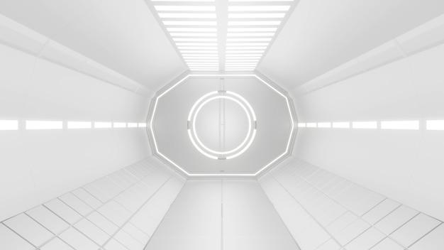 Corredores iluminados do túnel da nave espacial renderização em 3d
