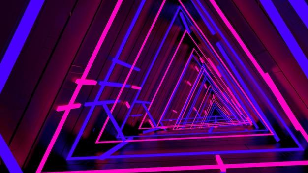 Correndo em neon light triangle tunnel papel de parede na cena da festa retro e moda.