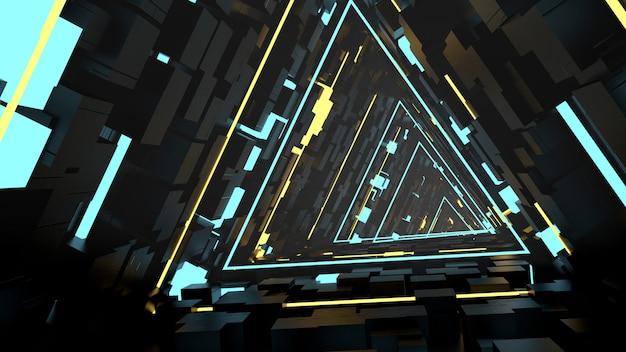 Correndo em triângulos equivalentes papel de parede do túnel na cena da festa retrô e sci fi.