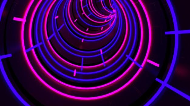 Correndo no papel de parede do túnel da luz da caixa na cena retro e da forma da fôrma.