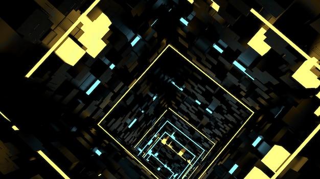 Correndo no papel de parede do túnel da luz da caixa na cena retro e do sci fi do partido.