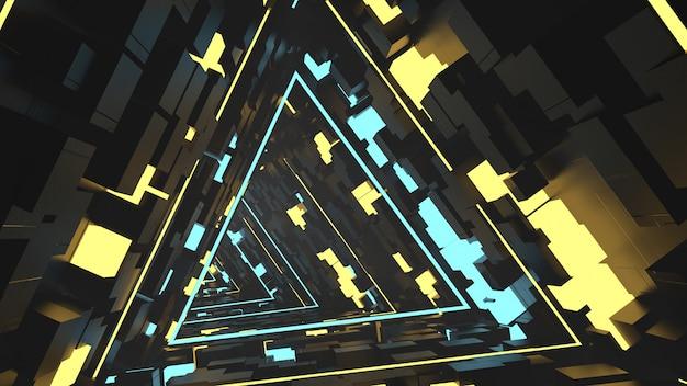 Correndo no túnel de triângulos equilaterais em retrô e ficção científica